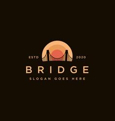 Sunset and bridge logo icon template vector