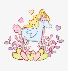Tender unicorn with plants leaves and hearts vector