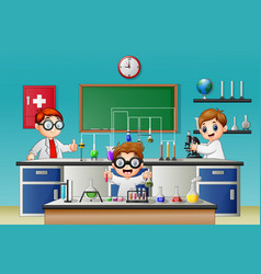 Three boy doing experiment in the lab vector