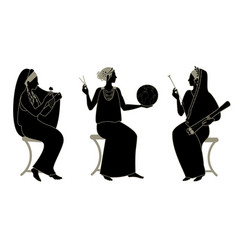 Three women in ancient greek style goddesses vector