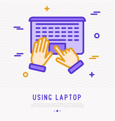 top view using laptop hands on touchpad vector image