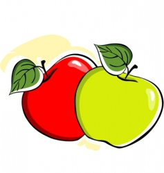 two apple with leafs vector image