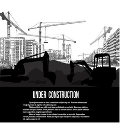 under construction concept with excavator vector image
