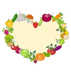 Vegetables frame in the shape of a heart Flat vector image