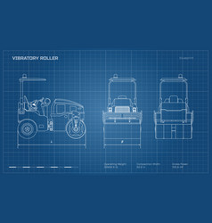 vibratory roller in outline style vector image