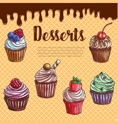 waffle poster with dessert cupcakes vector image