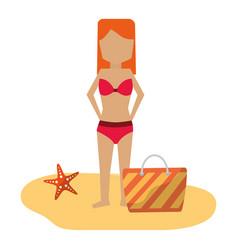 woman in bikini with bag beach vacations vector image