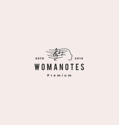 woman notes music logo icon vector image