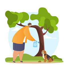 woman walking dog and picking up pets waste vector image