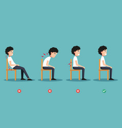 wrong and right ways positions for sitting vector image