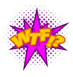 Wtf lettering aggressive abbreviation icon vector