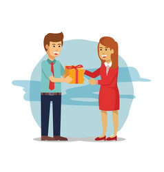young man give a parcel to a women in red vector image