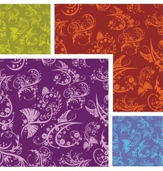 Chinese Floral - seamless pattern set vector image