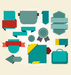 collection of blue stickers on vector image