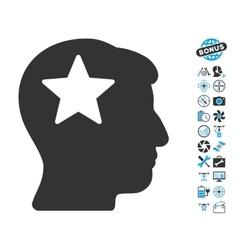 Star Head Icon With Air Drone Tools Bonus vector image vector image