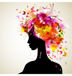 Artistic woman sillhouette design vector image vector image