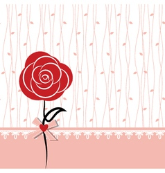 Card design with red rose vector image