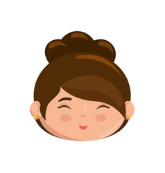 Cute japanese girl face cartoon vector