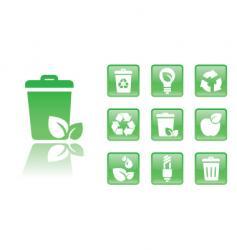 green icons trash vector image
