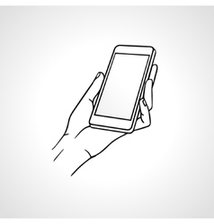 Hand Holding Mobile front view vector image vector image