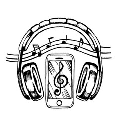 headphones and smartphone vector image