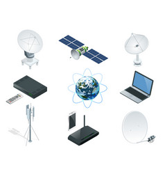 isometric wireless technology and global vector image