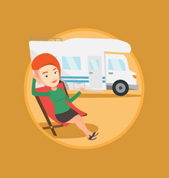woman sitting in chair in front of camper van vector image