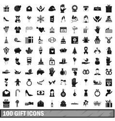 100 gift icons set simple style vector image vector image