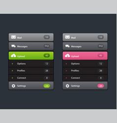 navigation menu vertical menu ui element vector image