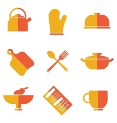 set of kitchen utensils icons vector image
