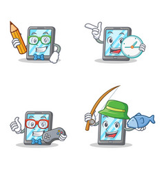 set of tablet character with student clock gamer vector image vector image