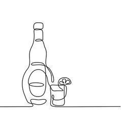 tekila bottle and glass isolated vector image