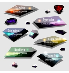 Abstract polygonal jewel bubble label banner set vector image vector image