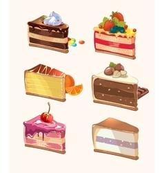 Cartoon cake pieces vector image vector image