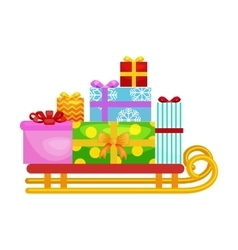 Christmas gifts in stack box on sled winter vector