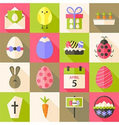Easter flat styled icon set 4 with long shadow vector image