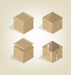 realistic wooden box isometric vector image