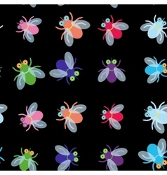 Seamless pattern Funny fly colorful red green blue vector image