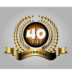 40 year anniversary golden label 40th anniversary vector
