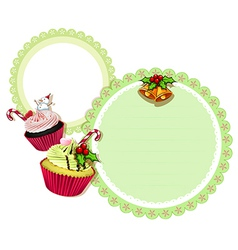 A round christmas design with cupcakes vector