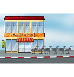 A supermarket near the street vector image