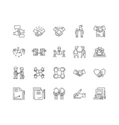 Agreement line icons signs set outline vector