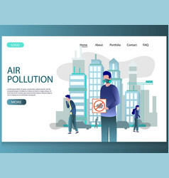 air pollution website landing page design vector image