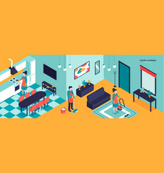 apartment cleaning horizontal composition vector image