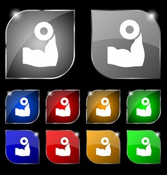Arm muscle with dumbbell in hand icon sign Set of vector