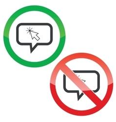 Arrow cursor message permission signs vector