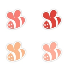 Assembly realistic sticker design on paper bee vector