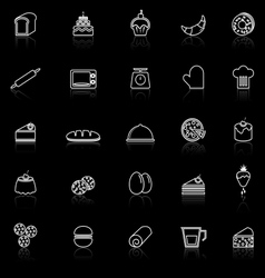 Bakery line icons with reflect on black background vector