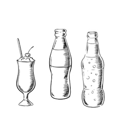 Beer sweet soda and cocktail sketches vector