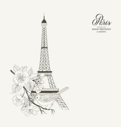 bird sitting on a brunch with eiffel tower vector image